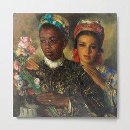 "African American Masterpiece ""Women Arranging a Bouquet of Flowers' by Jose Cruz Herrera Metal Print"