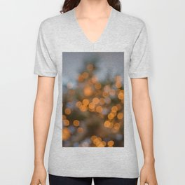 Golden Lights on a Christmas Tree (Color) Unisex V-Neck