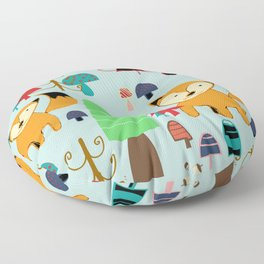 Woodland fox blue Floor Pillow
