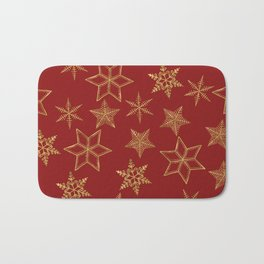Snowflakes Red And Gold Bath Mat