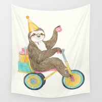 sloth Wall Tapestries featuring birthday sloth by Laura Graves