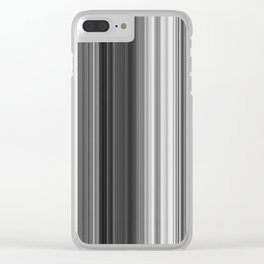 Black White Gray Thin Stripes Clear iPhone Case