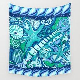 She Sells Sea Shells Blue Wall Tapestry