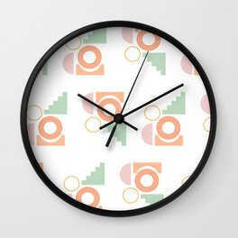 Simple Geometric Shapes Pattern in Pastel Green, Coral, and Pink Wall Clock