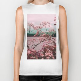 Pink Baby's Breath White Pink Blossoms Against Turquoise Background Biker Tank