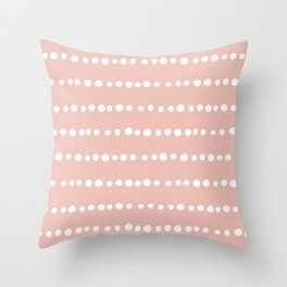 Spotted Mudcloth, Pink and White, Boho Prints Throw Pillow