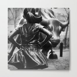 Fearless Girl facing down the Charging Bull statue of Wall Street black and white photography Metal Print