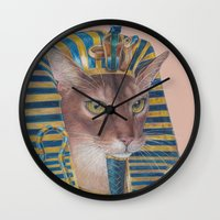 egyptian Wall Clocks featuring Egyptian Cat by Rachel Waterman