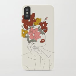 Colorful Thoughts Minimal Line Art Woman with Magnolia iPhone Case