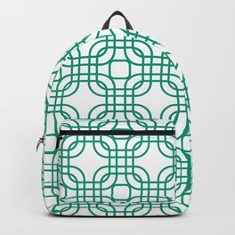 Emerald Geometric Lattice Pattern Backpack