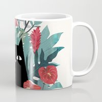 leaves Mugs featuring Popoki by littleclyde