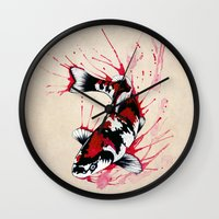 outdoor Wall Clocks featuring Koi by Puddingshades