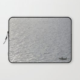 Lonely Boat in Key Biscayne, Miami, With the City as Background Laptop Sleeve