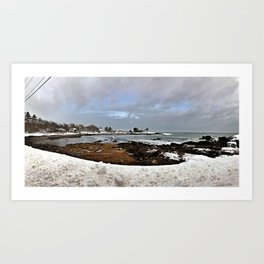 End of a Blizzard on Pond Cove in Cape Elizabeth, Maine Art Print