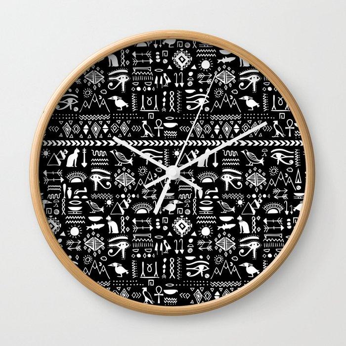 Egyptian hieroglyphs Print (Black background) Wall Clock