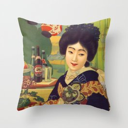 Vintage Japanese Beer Colorful Ad Throw Pillow