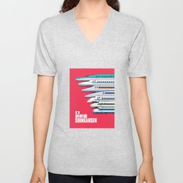 Shinkansen Bullet Train Evolution - Red Unisex V-Neck
