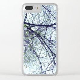Tree reverse perspective, green leaves, blue sky Clear iPhone Case