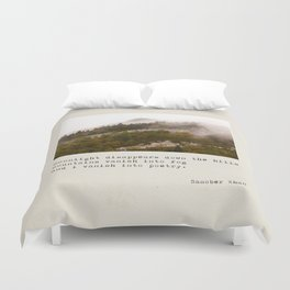 mountains vanish into fog Duvet Cover