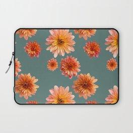 Coral Mum Floral Pattern - Scattered Flowers on Teal - Chrysanthemum Bloom Pattern - Real Flowers Laptop Sleeve