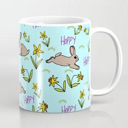 Hoppy Happy Sweet Spring Bunny Floral Design Coffee Mug