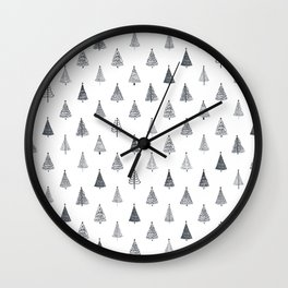 Rustic Christmas Trees Black and White Wall Clock