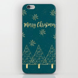 Merry Christmas Teal Gold iPhone Skin