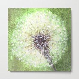 Green Dandelion Metal Print
