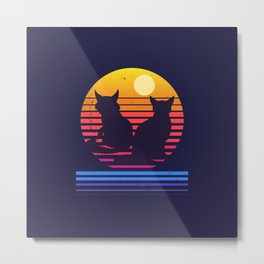 Cats Retro Synthwave Sunset Together Forever Metal Print