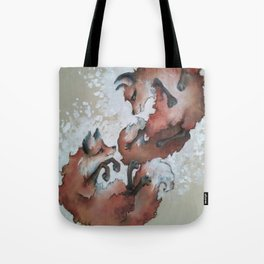Foxes, snow day Tote Bag