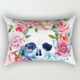 Watercolor skull & flowers Rectangular Pillow