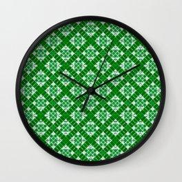 Green Patchwork Wall Clock