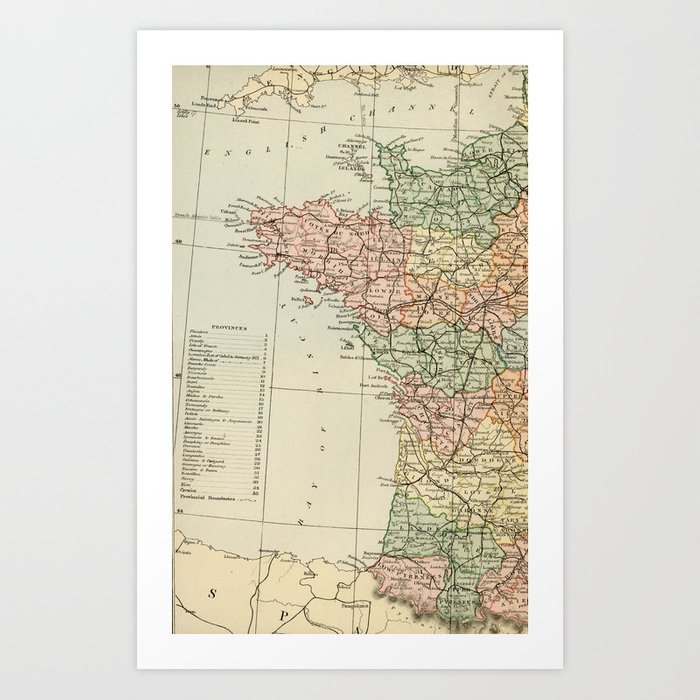 Map Of France To Print.Old Map Of The West Of France Art Print By Graphikz