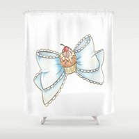 bow Shower Curtains featuring Cupcake bow by Ckeeling
