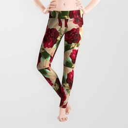 Old Red Rose Kaleidoscope 11 Leggings
