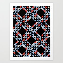 Night Sailing Waves Pattern Art Print
