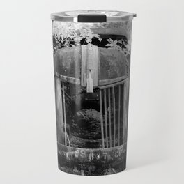 Missing Grill in Abandoned Pickup Rusting in Forest Black and White Infrared Travel Mug