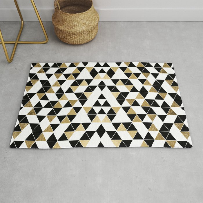 Modern Black White And Faux Gold Triangles Rug By Blackstrawberry