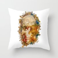 psychadelic Throw Pillows featuring Psychadelic Skull by In Full Color
