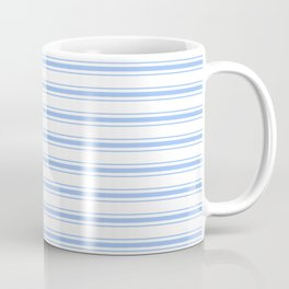 Mattress Ticking Wide Striped Pattern in Pale Blue and White Coffee Mug