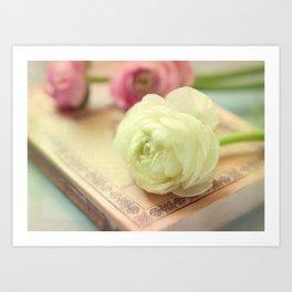 Ranunculus and Book Art Print