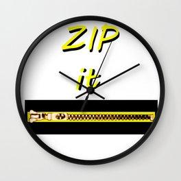 Zip it Black Yellow jGibney The MUSEUM Gifts Wall Clock