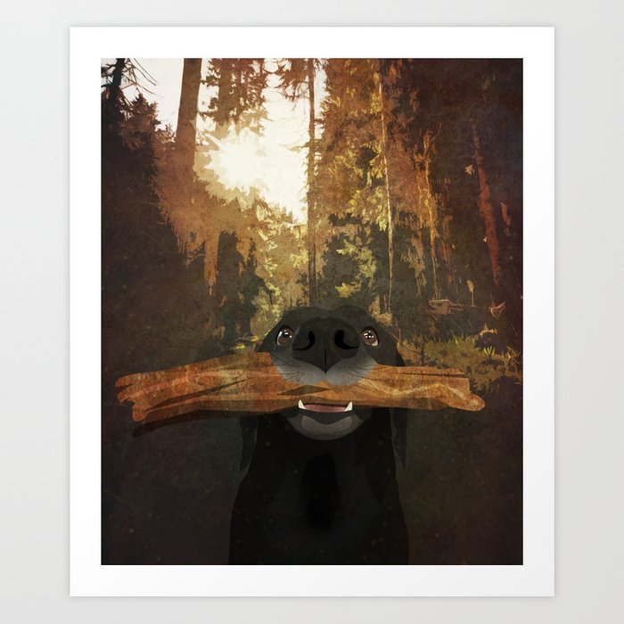 Playful Labrador Art Print