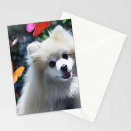 Buffy the Celebrity Pomeranian and Butterflies Stationery Cards