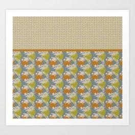 Mod Wreath Pop Japandi style leaf and stone print Art Print