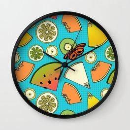 Tropical Fruit Pattern Wall Clock