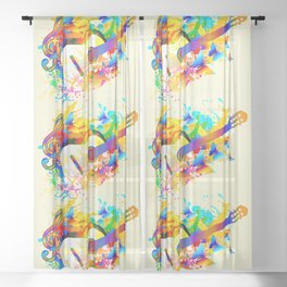 Music instruments colorful painting, guitar, treble clef, butterfly Sheer Curtain