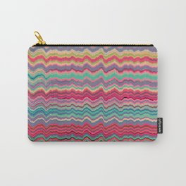 Vintage distorted soundwaves pattern Carry-All Pouch