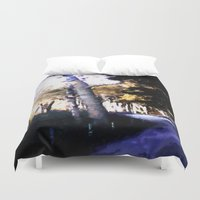 hiking Duvet Covers featuring Hiking on the Coast. by capricorn