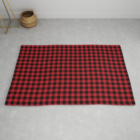 Plaid Pattern Red And Black Minimal Modern Cabin Rustic Decor Nature Inspired Themed Decor Rug By Charlottewinter Society6